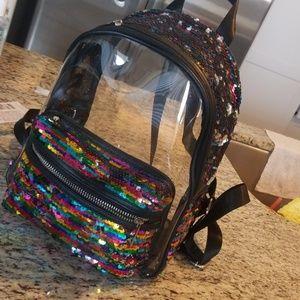 Mini glitter clear back pack
